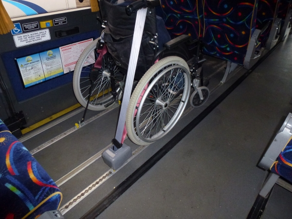 Wheelchair with Clamps & Seatbelts - Click to Enlarge